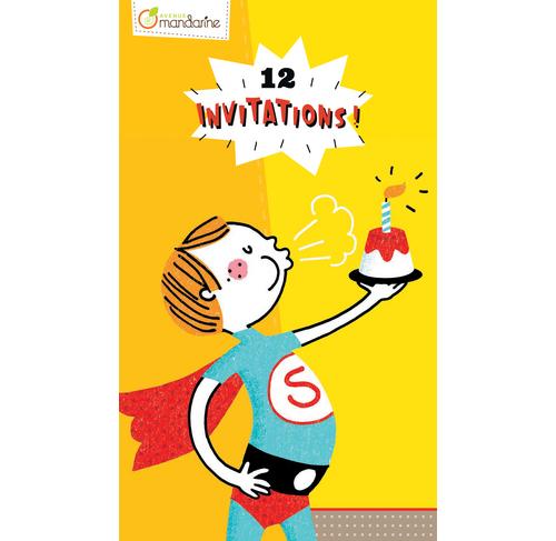Block Mit 12 Einladungskarten, Superhelden; Zeichenpapier 160g